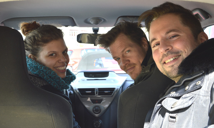 Three people in a car